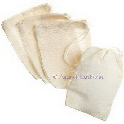 6 x COTTON BAGS Reusable BATHS DRAWER SACHET TEA Wicca Pagan Witch Goth HERB