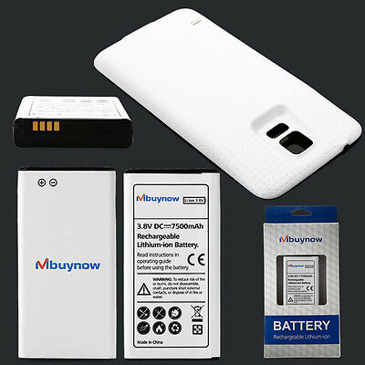 New 7500mAh Extended Battery for Samsung Galaxy S5 SM-G900/GT-i9600 + Back Cover