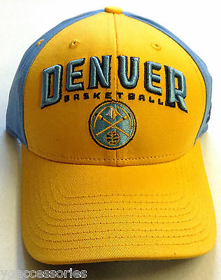 sports shoes 04612 82748 NBA Denver Nuggets Adidas Structured Curved Brim Adjustable Fit Cap Hat NEW!