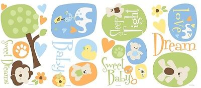 25 New MODERN BABY WALL DECALS Animals & Teddy Bears Stickers Baby Nursery Decor