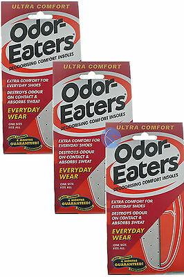 3 x ODOR-EATERS ULTRA COMFORT DEODORISING INSOLES EVERYDAY WEAR.WASHABLE