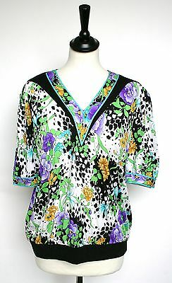 Vintage blouse - 80s Botto pattern placement top - UK 12