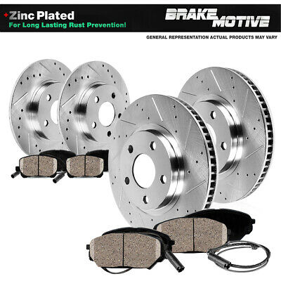 FRONT+REAR DRILLED SLOTTED BRAKE ROTORS & CERAMIC PADS VW Beetle Golf Jetta