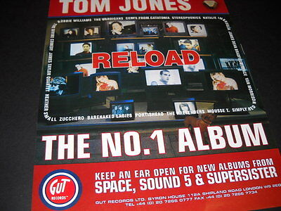 TOM JONES Has The Number One Album RELOAD 1997 Promo Poster Ad mint condition