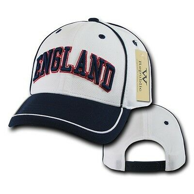 206f301eb19 White England Soccer Football Dri Cool Mesh World Cup Adjust Baseball Hat  Cap