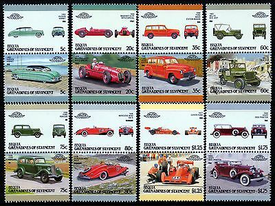 1987 BEQUIA Set 7 Collection of 16 Car Stamps (Auto 100 / Leaders of the World)