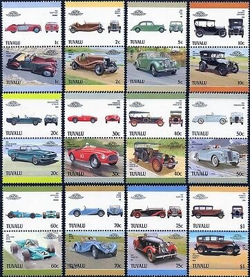 1987 TUVALU Set 5 Collection of 24 Car Stamps (Auto 100 / Leaders of the World)