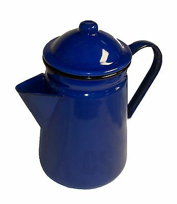 Falcon Blue Enamel Tall Coffee Pot With Handle & Lid Tea Teapot - Camping