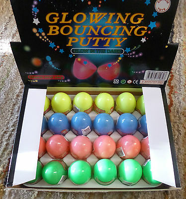 GLOW-IN-THE-DARK BOUNCING PUTTY BOX of 24 EGGS -STRETCH IT SNAP IT STILL GLOWS!