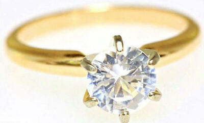 2.88ct Real White Sapphire Solitaire 14K 14KT Solid Yellow Gold Engagement Ring
