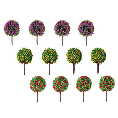 30P Ball Model Trees Mixed 3 Color Flower Railway Garden Yard Scene Layout 1:100