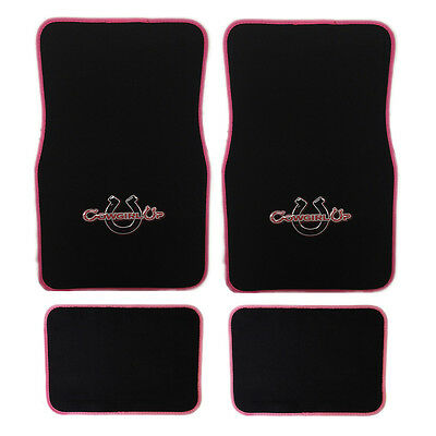 4 pc Cowgirl Up Black Pink Front Rear Carpet Floor Mats Set New Universal