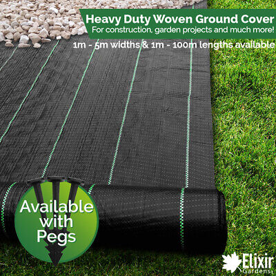 Ground Cover Landscape Fabric Weed Control 1m 2m 3m 4m 5m Widths + Pegs Staples