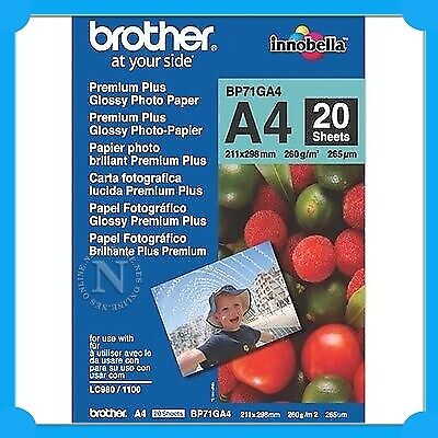 Brother BP71GA4 A4 Premium Plus Glossy Paper (20 Sheets) 260GSM 211mmx298mm