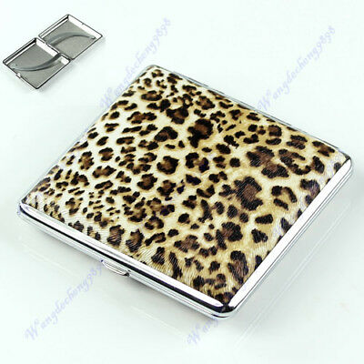 Leopard Pattern Pocket Leather Cigarette(20 pcs) Tobacco Case Box Holder Yellow