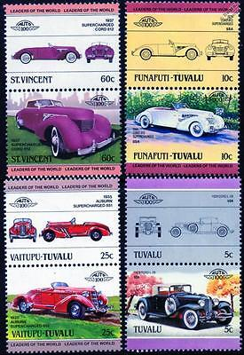 AUBURN CORD Collection of 8 Car Stamps (Auto 100 / Leaders of the World)