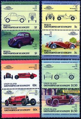 FIAT Collection of 8 Car Stamps (Auto 100 / Leaders of the World)