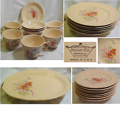 Lot of 24 pc UNIVERSAL Ohio BROADWAY ROSE Salmon Pink Plates Cups Bowls Platter