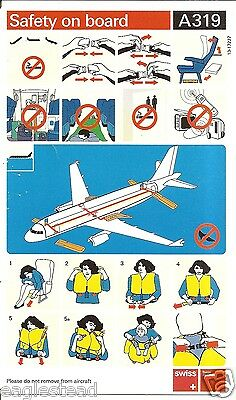 Safety Card - Swiss Air Lines - A319  (S3508)