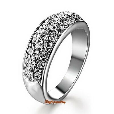 White Gold Plated Made With Swarovski Crystal Diamontic Wedding Ring Band R12