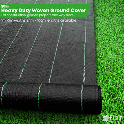 Elixir Gardens Heavy Duty Ground Control Fabric 1m, 2m, 3m, 4m, 5m Widths + Pegs