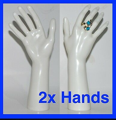 2x Gloss White Plastic Mannequin Display Hands Brand New