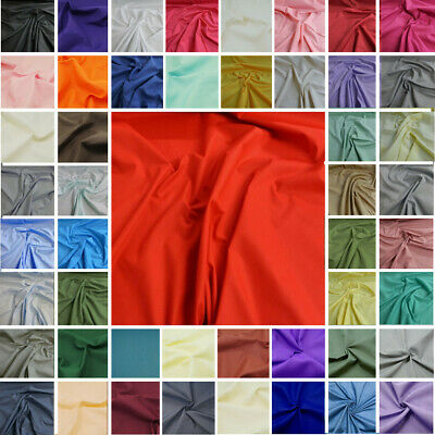 Plain Polycotton Fabric 60+ Colours Poly Cotton Dress Craft Poplin Bunting