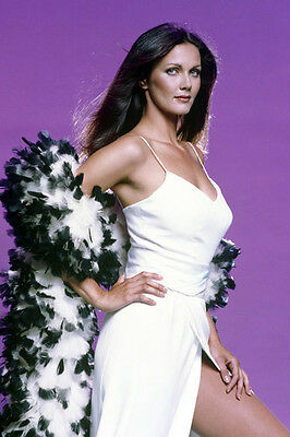 Lynda Carter sexy leggy pose in white dress huge cleavage 24X36 Poster
