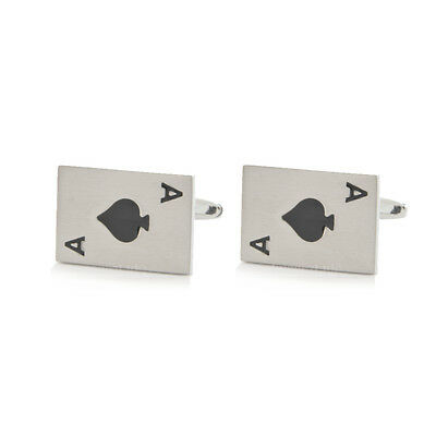 Ace of Spades Cufflinks Gift Boxed N042A playing card suite casino BNIB