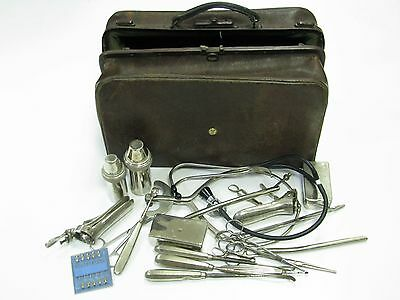 ANTIQUE GYNAECOLOGICAL DOCTOR BAG OVER 20 INSTRUMENT TOOLS GYNECOLOGY x