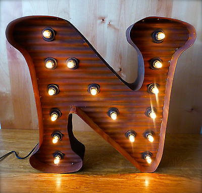 "LG BROWN VINTAGE STYLE LIGHT UP MARQUEE LETTER N, 24"" TALL novelty metal sign"