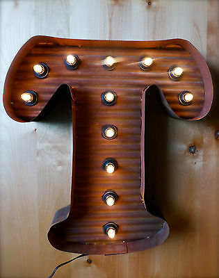"LG BROWN VINTAGE STYLE LIGHT UP MARQUEE LETTER T, 24"" TALL metal rustic sign"