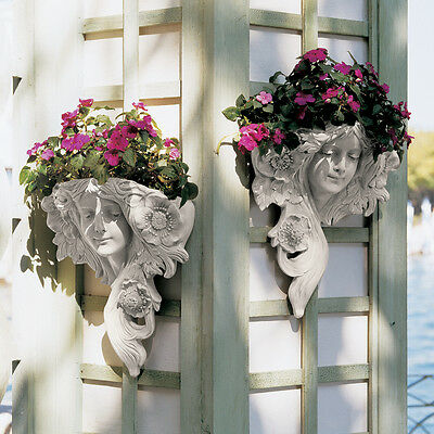 Set of 2:Art Nouveau French Spring & Summer Lady Wall Planter Sculpture Greenman