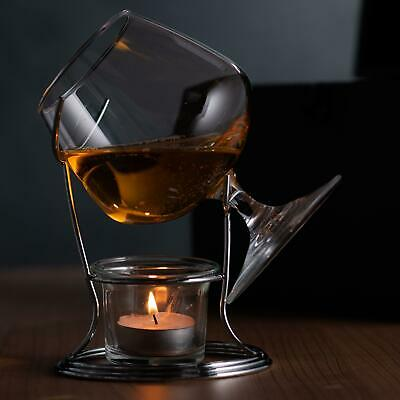 Cognac & Brandy Warmer with Brandy Snifter Glass Gift Set with Tealight & Holder
