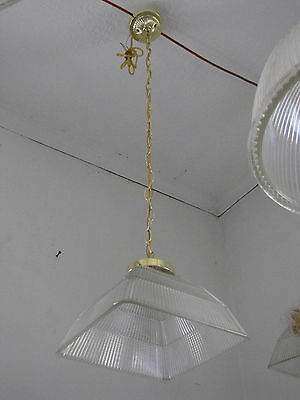 Large Square Holophane Shade With (New) Wired Brass Canopy And Holder 5745A
