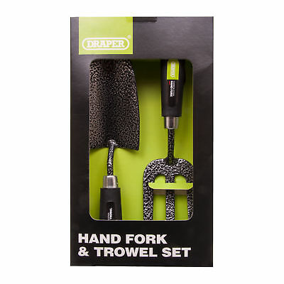 Draper Gardeners Steel Hand Fork and Trowel Set 2 Piece Heavy Duty Garden Tools