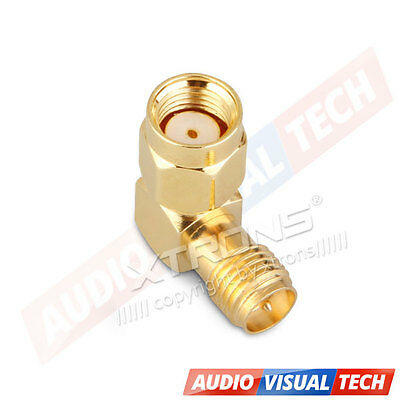 RP-SMA male plug to RP-SMA female Jack right angle connector adapter 90 Degree