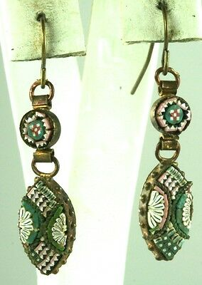 Victorian Antique Micromosaic Mosaic Long Dangling Earrings