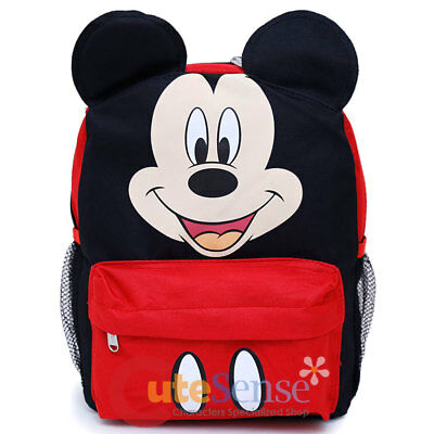"""Disney Mickey Mouse Face Backpack with Ear School Backpack 12"""" Bag"""