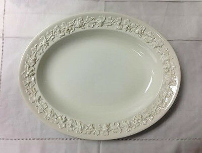 "Wedgwood Embossed Queen's Ware Platter 12 3/4"" Cream On Cream Made In England"