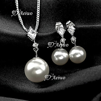 18K Gf White Gold Clear Crystal Pearl Necklace Stud Earrings Set Classic