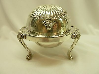 1881 FB Rogers Silver Co $273 Silverplate Lion Footed Dome Top Covered Butter