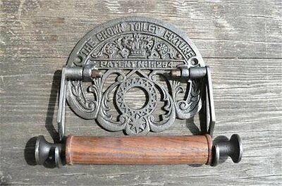1 Crown Cast Antique Iron Toilet Roll Holder Wall Mounted Vintage