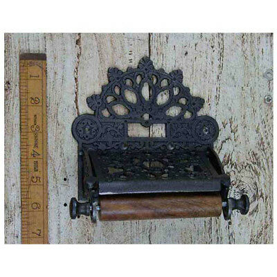 1 Victorian Cast Antique Iron Toilet Roll Holder Wall Mounted Vintage W/lid