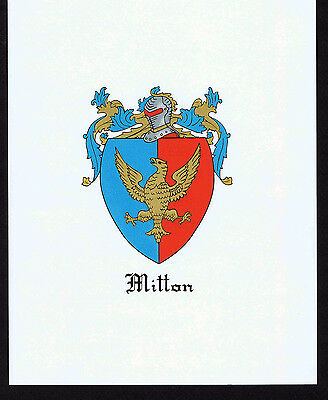 MITTON COAT OF Arms & Family Crest - Vintage Print