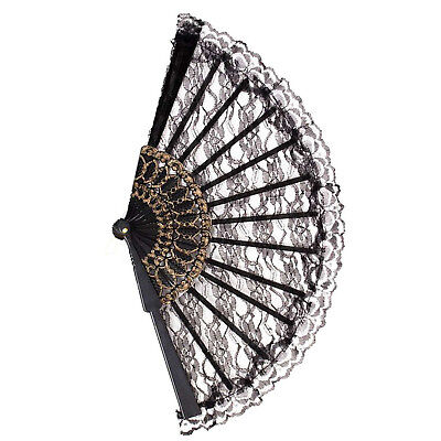Lace Chinese Fan Black Victorian Wedding Geisha Costume Accessory