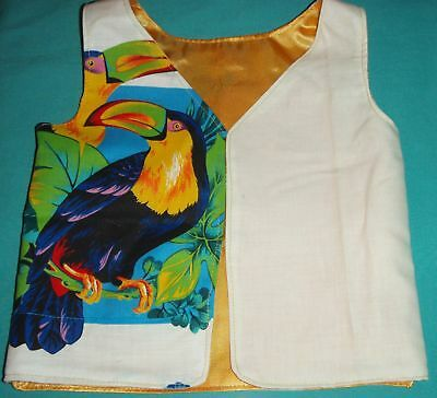 Toucans & Yellow Satin Reversible Vest Child Size 1 or My Size Barbie MYVPN08