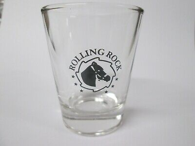 Rolling Rock Beer Logo On A Clear Shot Glass