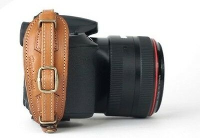 Herringbone Heritage Leather Hand Grip Strap Camel Brown Type 2 for DSLR Camera