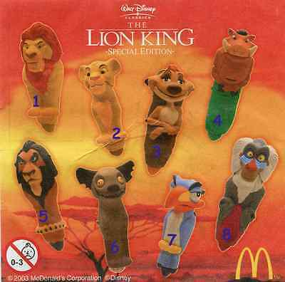 McDonald/'s MC DONALD/'S HAPPY MEAL 1994 Lion King Re leone Pezzi singoli
